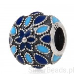 D563 Kwiat charms koralik beads srebro 925